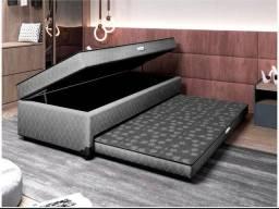 Cama box solteiro com baú e cama auxiliar