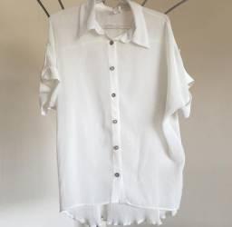 Camisa Branca Plissada