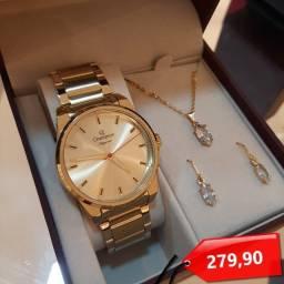 Título do anúncio: Relógios Femininos Champion Dourado Com Brinde Prova D'Água