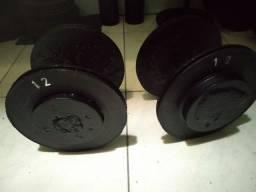 Halteres caseiro 12kg cada Promoção