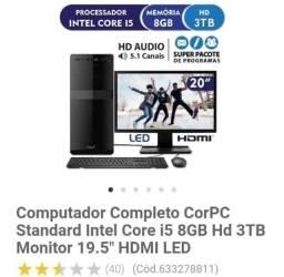 Computador completo corpc standart intel core i5 8gb HD 3tb monitor 19.5 HDMI led