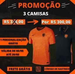 3 camisas por R$300,00+frete e personalização grátis