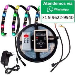 Fita Led Digital 6803 Rgb 328 Efeitos Com controle + fonte