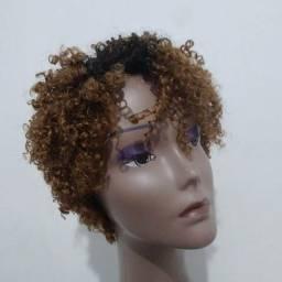 Peruca wig de cabelo humano cacheada