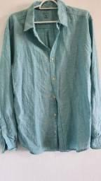Camisa de linho azul - M