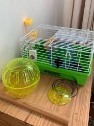 Gaiola de hamster + bola para correr pela casa