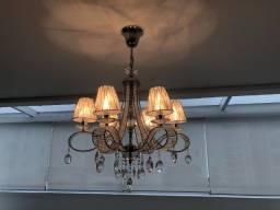 Lustre Cristal e Prateado - 6 lâmpadas