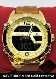 d6daff49ebd Relógio Naviforce 9128 Executivo Aço puls couro Resist água 3ATM Entrega  Grátis  996953694