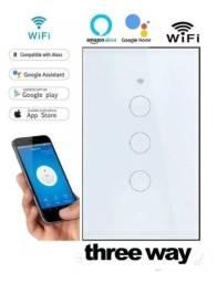 Interruptor Wifi 3 Vias Paralelo Touch Alexa Google