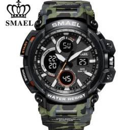 Relógio Esportivo Smael Camuflado 1708b . Army Green +Lata original