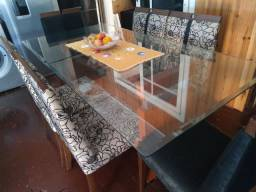 Mesa vidro com seis cadeiras