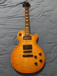 Baixou! Guitarra Epiphone Les Paul Classic Quilt Top Trans Amber - Korea - Limited Edition