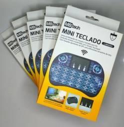 Mini Teclado s Fio Com Led e bateria Controle tv box
