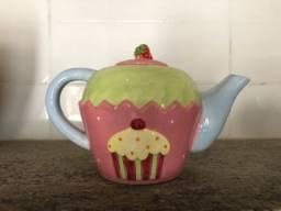 Lindo bule de cerâmica candy color pintura cupcake