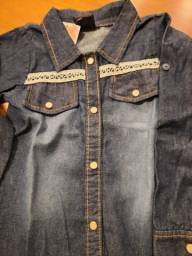Camisa Jeans azul escuro stonada