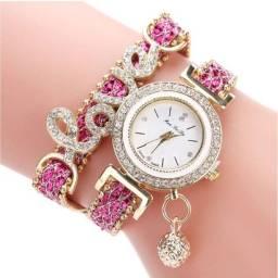 Relógio de pulso quartzo feminino, marca de luxo, amor, pulseira de couro