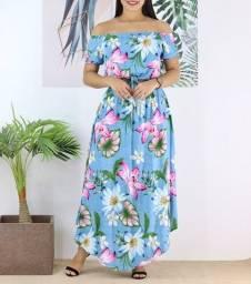 Conjunto feminino Saia + Cropped azul floral