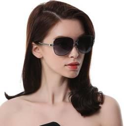 Óculos De Sol Redondo Feminino Polarizado Proteção UV400 Preto Degradê 8702 Original