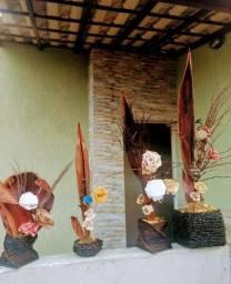 Vasos artesanais para artificial para decoração.