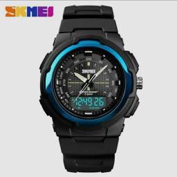 SKMEI Relógio de Pulso 1454 com Mostrador LED Digital Duplo