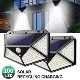 Luminária Solar Parede 100 Led Sensor Presença Com 3 Funções