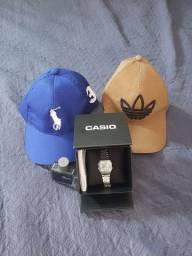 Relógios Casio original +2 boné + perfume