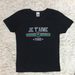 Camiseta baby look preta