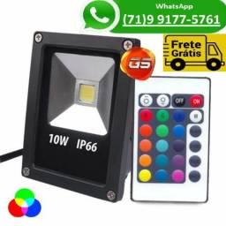 Holofote Refletor Led 10w Rgb Prova Dágua Bivolt + Controle (NOVO)