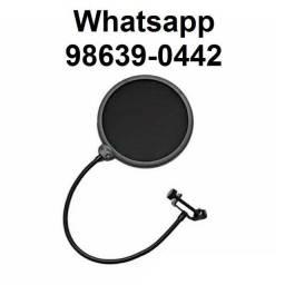 Pop filter Antipuff p/ Microfone condensador (Novo, aceito cartão)