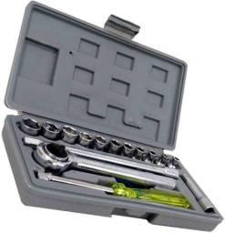 Jogo de chaves catraca reversivel 17 pecas com barra de extensao e estojo