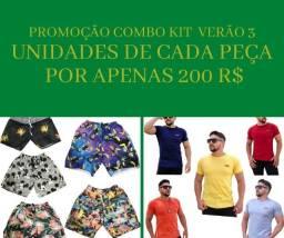 Combo kit de verão com 3 unidades de cada short mauricinho + camiseta lisa