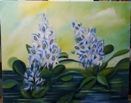 """Pintura a óleo. """"Aguapés"""". Decoração. Natureza."""