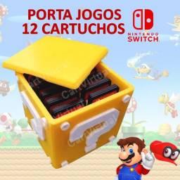 Porta Jogos Nintendo Switch Caixa Bloco Mario 12 Cartuchos