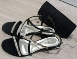 Bolsa de festa e sandália 36, 1 vez de uso