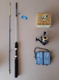 Kit Completo com Vara, Molinete com linha e Estojo Completo