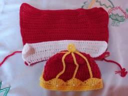 Roupinha new born reizinho de crochê para fotografia