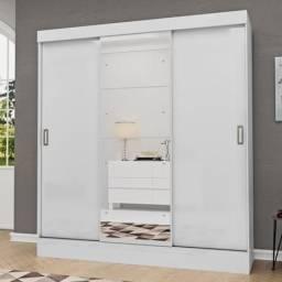 Guarda Roupa Casal com Espelho 3 Portas 2 Gavetas Istambul Espresso Móveis Branco<br><br>