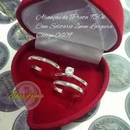Alianças de prata 950k mais anel solitário prata 950k