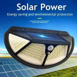 Lampada Solar Parede 102 Led Sensor Presença Com 3 Funçõe