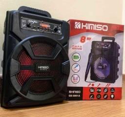 *Caixa de som Kimiso5801B com 1000W de potência! Bluetooth, microfone e controle remoto
