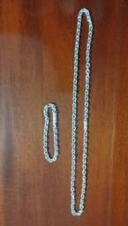 Corrente e pulseira de prata masculina Cartier - Nova