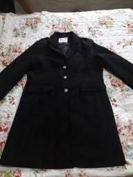 Casaco de lã batida preto