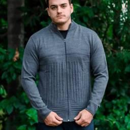 Blusa De Frio Casaco Masculino com  Ziper e Bolsos