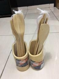 Jogo Utensilios Cozinha Bambu Talheres Culinaria Funcionais