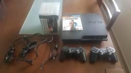 Vendo playstation 3 com 2 controles, cabo hdmi e 9 jogos