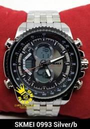 64d30101c82 Relógio Skmei 0993 Prata aço cara palhaço resistente água 3ATM Entrega  Grátis  996953694