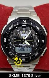 3d500163b08 Relógio Masculino Skmei 1370 Esportivo Ouro Prata Prova d água Entrega  Grátis  996953694