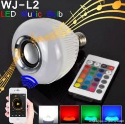 Lampada Luz Led Rgb Caixa Som Bluetooth + Controle Remoto