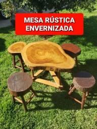 Conjuntos de Mesa e Banco Rústico - Madeira Legalizada Com Procedência