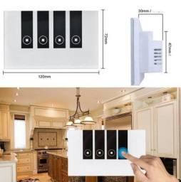 Interruptor Luz Wifi Touch Cristal 4 Tecla Automação